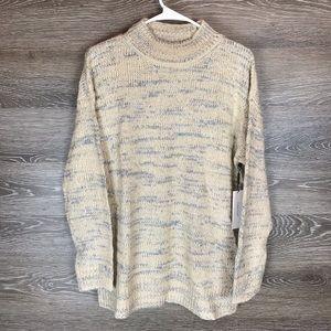 Calvin Klein Marled Stripe Mock Neck Sweater NWT